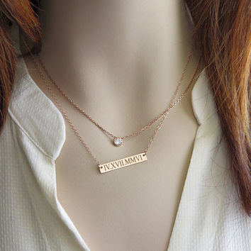 Engraved Bar Date Bar Necklace Roman Numerals Rose Gold Commemorative Necklace Engraved Jewelry Personalized Date Jewelry Wedding Date