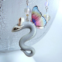 Morning Dew Whirr earrings tiny Fairy Dragon cute winged creature magic ear jewelry soft rainbow colors