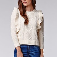 Lucca Couture Ruffle Long Sleeve Sweater - Womens Sweater