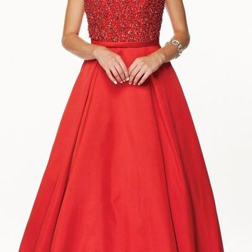 Juliet 652 Pleated Skirt Jewel Embellished Bodice Long Prom Dress Red