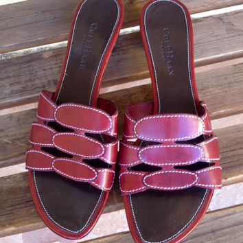 Red Cole Haan Sandals, Red Slip On Sandals, Cole haan Resort Sandals 8B, designer shoes, Cole Haan Ladies Shoes
