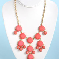 Creme de la Gem Coral Pink Statement Necklace