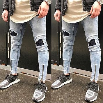 Men's Ripped Skinny Biker Jeans Destroyed Frayed Slim Skinny Fit Denim Pants Patckwork Zipper Ankle-length Pencil Pants