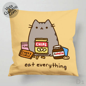 Pusheen The Cat Eat Every Thing Pillow Case, Chusion Cover ( 1 or 2 Side Print With Size 16, 18, 20, 26, 30, 36 inch )