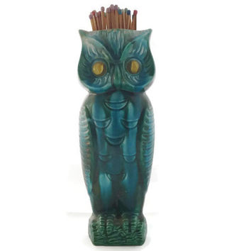 Vintage Owl Vase or Long Match Holder, Turquoise Blue Green With Marble Eyes, Inarco Japan Ceramic