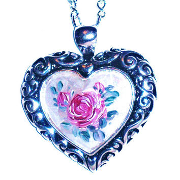 Brighton Style Heart Necklace Mother of Pearl Hand Painted Large Rose Pendant Statement Necklace