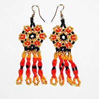 Native American Gold Peyote Flower Earrings Huichol Jewelry Gold Earrings Gold Bead Earrings for Good Luck Health Success Mexican Earrings