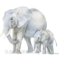 Elephants Watercolor Painting Print - 11 x 14 - Mother and Baby Giclee Reproduction - African Animal - Safari - Nursery Decor