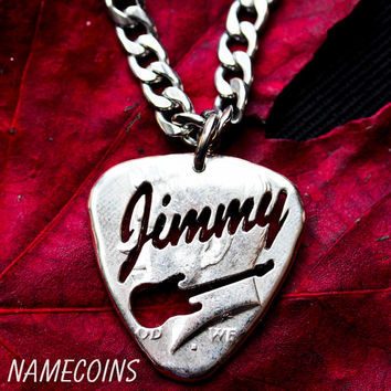 Custom Guitar Pick Necklace, Name Jewelry, Big Pick Hand cut and burnished Half Dollar