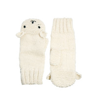 People Tree Cream Polar Bear Mittens