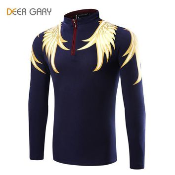 Men's Polo Shirts Printing Pattern Long-sleeved Polo Homme Stand Collar Slim POLO shir