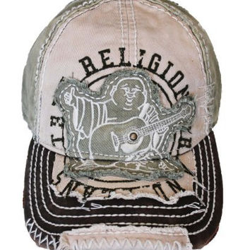 New True Religion Unisex Buddha Distressed Grass Trucket Hat Cap TR#1101