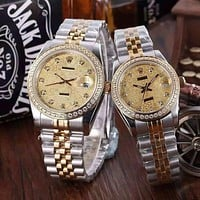 """ROLEX"" Lover Fashion Casual Trending Luxury Diamond Quartz Watch Casual Wristwatch Golden G"