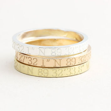 Coordinates Ring / Latitude Longitude Ring / Personalized Latitude Longitude Jewelry / Location Ring