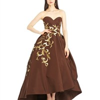 Feather Embroidered Silk Faille High-low Gown