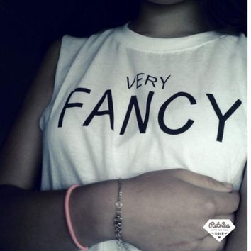 """Very fancy "" Letters print short sleeves tee women white shirt"