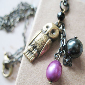 Nesting Owl Necklace - Owl Pearl Necklace