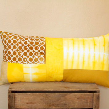 Yellow Shibori Pillow Cover- canary, mustard and amber yellow shibori patchwork cushion, one of a kind bolster pillow