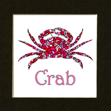 Pink Crab Print - Nursery Art - Sea Life - Coastal Print - Sea Creatures - Beach House Wall Art - Coastal Decor - Nautical Art