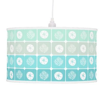 Coral Reef and sand dollar aqua beach patterns Hanging Lamp