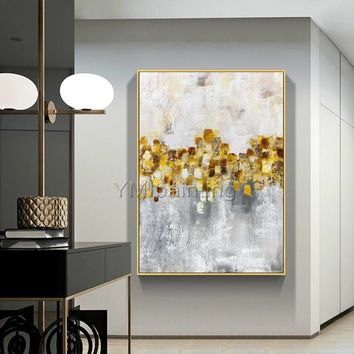 Gold Leaf Acrylic Abstract Paintings On Canvas original art flowers painting extra Large wall pictures quadro wall decor cuadros abstractos