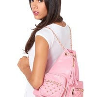 Studded Pocket Chain Backpack - Pink from ROXX at ShopRoxx.com