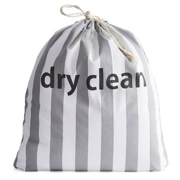 Dry Clean Drawstring Bag Gray Stripe Laundry Bags