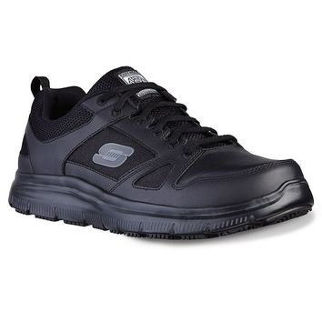 Skechers Relaxed Fit Flex Advantage Men's Slip-Resistant Work Shoes (Black)