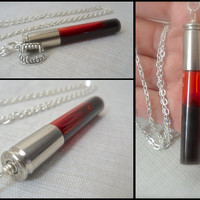 Vampire Blood Bullet Vial Necklace True Blood Vampire Diaries Bottle Sookie Elena Silver Paranormal Undead Bitten