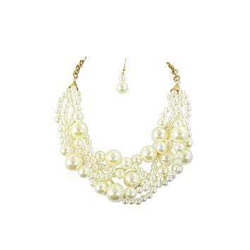 Bridal Wedding Chunky Twisted Cream Imitation Pearl Multi Layered Necklace