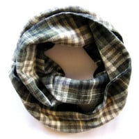 Childs Flannel Scarf Toddler Scarf Mommy and Me Scarf Plaid Scarf Girl Scarf Boy Scarf Childs Winter Scarf Green Cream Tan Holiday Kid Scarf