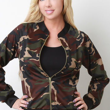 Camouflage Print Zipped Up Bomber Jacket