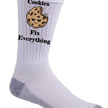 'Cookies Fix Everything' Food Humor Cartoon - Crew Socks