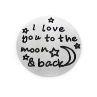 """""""I Love You to The Moon And Back"""" Silver Floating Plate"""