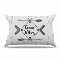 "Famenxt ""Boho Good Vibes"" Black Gray Pillow Case"