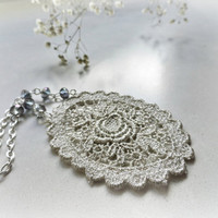Silver Rose Lace necklace Flower and roses venice lace by GBILOBA