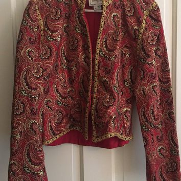 VINTAGE 1980's Women's Red Gold Brocade Paisley Farinae Neiman's Jacket Size 14