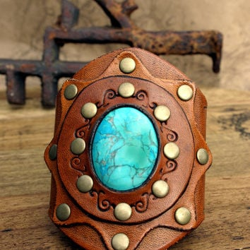 Bohemian Style Leather Cuff, Tooled and Stamped Leather with Turquoise Gemstone, Western Cowgirl Leather Jewelry