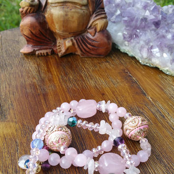 Original Collection - Pink Gemstones Rose Quartz 3 Beaded Bracelet