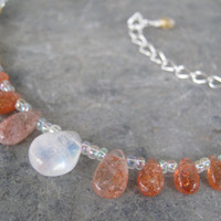 Sunstone & Moonstone Necklace, Sun and Moon Necklace, Dainty Necklace, Fiery Sunstone, Rainbow Moonstone, Etheral Design, READY To SHIP
