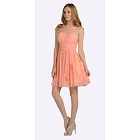 Short Sleeveless Chiffon Bridesmaid Dress Light Coral Illusion Neck