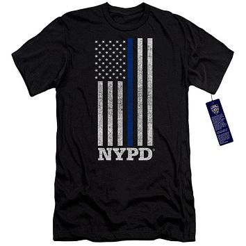 NYPD Premium Canvas T-Shirt Thin Blue Line American Flag Black Tee