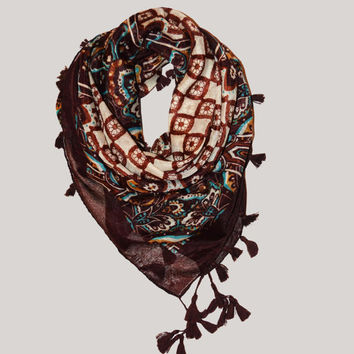 Printed Bohemian Ethno Scarf/Shawl, Etro Scarf Brown Tassels - Eclectic, Boho Scarf, Women's Fashion Accessories, Gauze Fashion