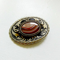 Mens Big Western Belt Buckle with Banded Agate Vintage Japanned Silver in Orange, Reds, Creams
