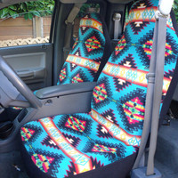 Reserved for Peyton Johnson 1 Set of Native Blanket Strips Turquoise Print and steering wheel cover Customs made.
