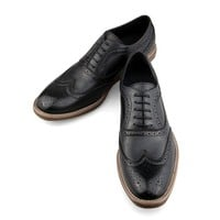 ZLYC Men Fashion British Style Leather Wing Tip Low Top Oxford Lace Up Brogue Shoes