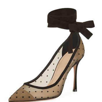 Dior Lovely- D Plumetis Ankle-Wrap Pump