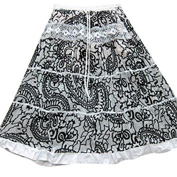 Womens Medieval Skirt White Paisley Printed Bohemian Broomstick Gypsy Fashion Long Skirts M: Amazon.ca: Clothing & Accessories