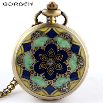 Green Jade Crystal Quartz Big Pocket Watch Necklace Pendant Chain Mens Gift P52