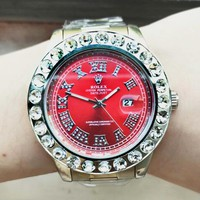 Rolex Fashion New More Diamond Red Dial Watch Stainless Steel Women Men Wristwatch